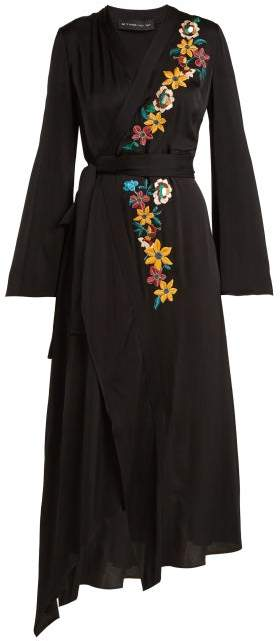 Etro Floral Embroidered Wrap Dress - Womens - Black Multi