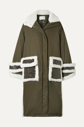 Stand Studio Adira Oversized Textured-leather And Shearling-trimmed Shell Parka - Army green