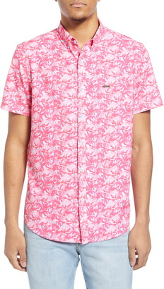 Flamingos Water Repellent Short Sleeve Button-Down Shirt