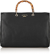 Gucci Bamboo Shopper Large Textured-leather Tote - Black