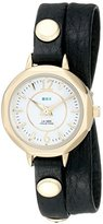 La Mer Women's LMDELMARDW1501 Black Gold Del Mar Double Analog Display Quartz Black Watch