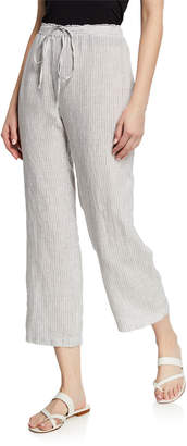 Eileen Fisher Mini-Stripe Drawstring Straight-Leg Organic Linen Crop Pants