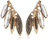 Sam Edelman Crystal and Gold Navette Cluster Stud Earrings