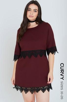 Girls On Film Curvy Burgundy Lace Hem Shift Dress