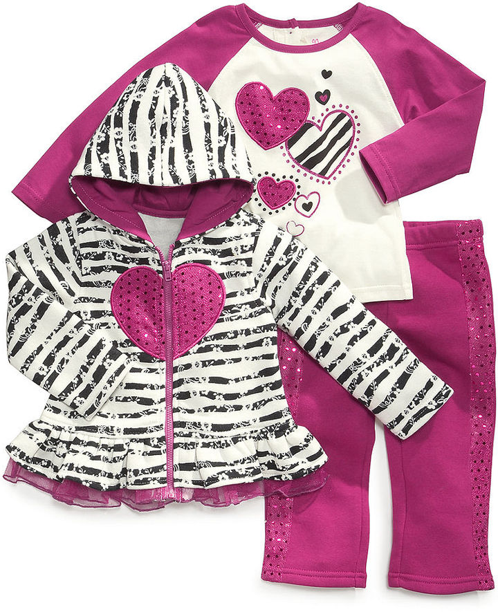 Nannette Baby Set, Baby Girls Sweetie Heart 3-Piece Hoodie, Shirt and Pants