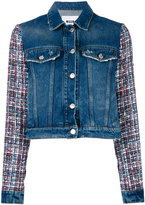 MSGM embroidered sleeves denim jacket - women - Cotton/Viscose/Wool/polyester - 42