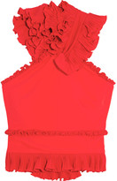 Antonio Berardi Ruffled Stretch-crepe Top - Red
