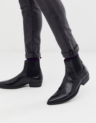 ASOS DESIGN stacked heel western chelsea boots in black faux leather