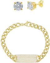 Swarovski Golden Nyc Golden NYC Women's Bracelets Gold - 18K Gold-Plated ID Bracelet Set With Crystals