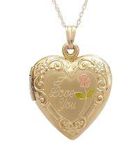 """14k Gold """"I Love You"""" Heart Locket"""