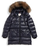 Moncler Girl's Fragont Down Parka With Genuine Fox Fur Trim