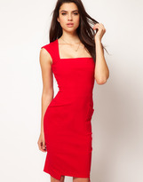 Square Neck Pocket Pencil Dress