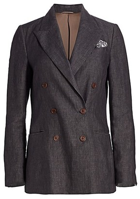 Brunello Cucinelli Chambray Linen Double Breasted Jacket