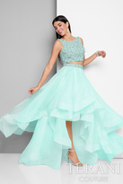 Terani Prom - Double Strap Beaded Cropped Top Hi Low Skirt Prom Gown 1711P2692