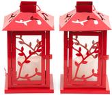 Set Of 2 Floral Lanterns