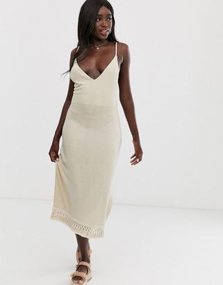 Asos Design DESIGN marl midi dress with tassel hem-Beige