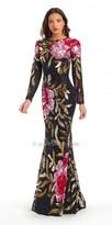 Camille La Vie Cowl Back Long-Sleeved Floral Sequin Evening Dress