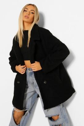 boohoo Double Breasted Faux Teddy Fur Coat