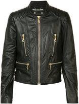 Kenzo biker jacket - women - Leather/Viscose/Bos Taurus - 36