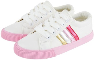 Monsoon Girls Maci Pink Stripe Trainers - Ivory