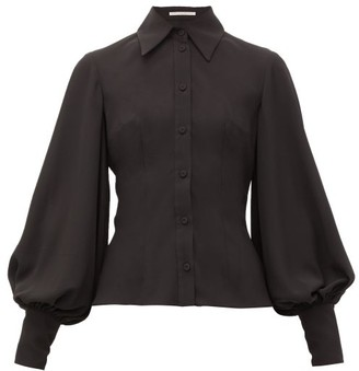 Emilia Wickstead Raven Bishop-sleeve Slim-fit Crepe Shirt - Womens - Black