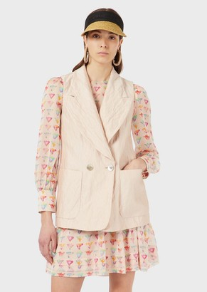 Emporio Armani Sleeveless, Double-Breasted Jacket With Lapels In A Crinkled Silk Blend