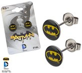 DC Licensed Comics 316L Stainless Steel Post with 8mm Batman Black/Yellow Logo Stud Earrings (with Gift Box)
