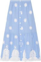 Miguelina Adrienne Broderie Anglaise Cotton Midi Skirt - Light blue