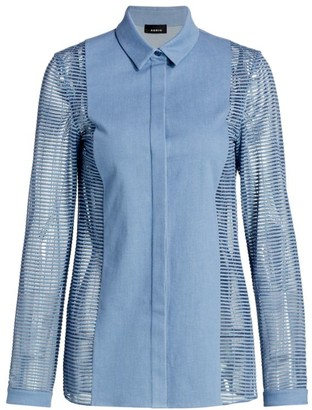 Akris Sheer-Sleeve Chambray Shirt