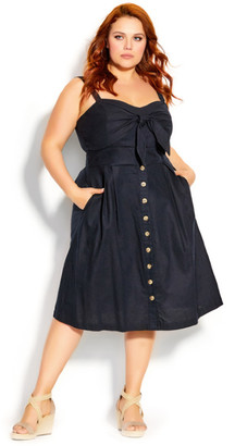 City Chic Sweetly Tied Dress - navy