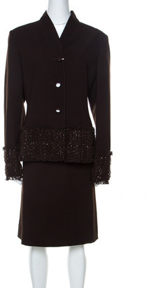Valentino Brown Wool Embellished Detail Skirt Suit L
