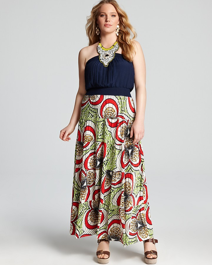 T-Bags Tbags Los Angeles Plus Beaded Neck Maxi Dress