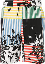 Burberry check and floral print swim shorts