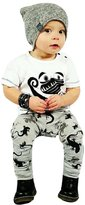 Susenstone Infant Toddler Baby Boys Cartoon Print T-shirt Tops+Pants Outfits Clothes