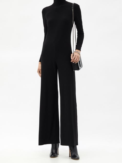 Thumbnail for your product : Norma Kamali High-neck Jersey Wide-leg Jumpsuit - Black