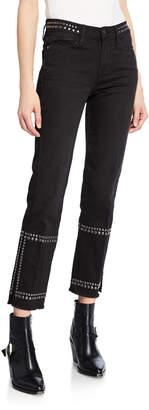 Frame Le High Straight-Leg Studded Jeans