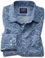 Classic Fit Non-Iron Chambray Royal Blue Paisley Print Cotton Casual Shirt Single Cuff Size Small by Charles Tyrwhitt