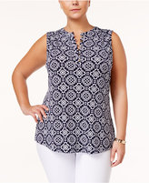 Charter Club Plus Size Printed Henley Top, Only at Macy's