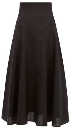 Emilia Wickstead Volly Flared Linen Midi Skirt - Black