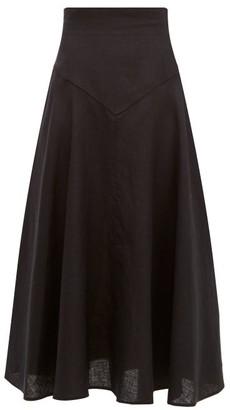Emilia Wickstead Volly Flared Linen Midi Skirt - Womens - Black