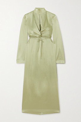 MATÉRIEL Cutout Silk-blend Satin Midi Dress - Green