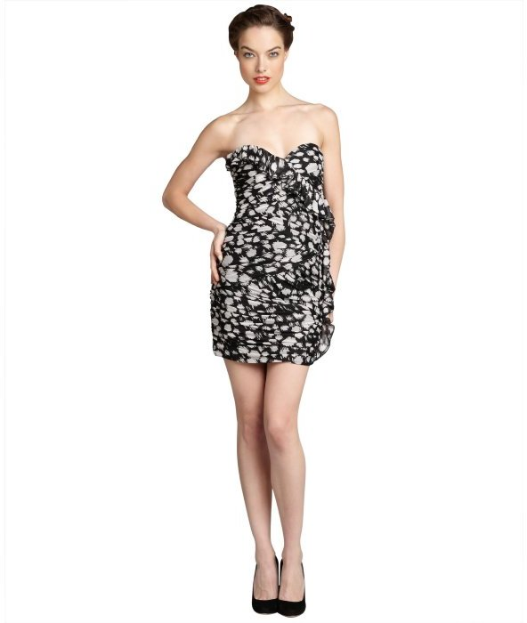 Max & Cleo black and ecru printed 'Jenny' strapless party dress