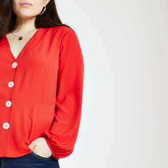 River Island Womens Plus Red long sleeve tea top
