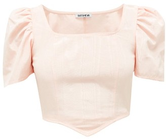 Batsheva Puff-sleeved Satin-twill Top - Pink