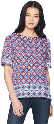 Ruby Rd. Women's Petite Roll-Tab Elbow Sleeve Printed Cotton Knit Top