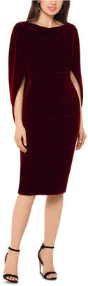 Betsy & Adam Velvet Drape-Back Dress