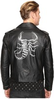 Just Cavalli Scorpion Leather Moto Jacket Men's Coat