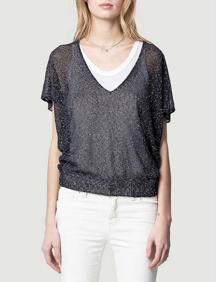 Zadig & Voltaire Indy short-sleeve metallic-knit jumper