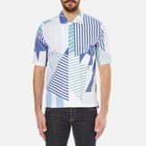 MAISON KITSUNÉ Men's All Over Patched Striped Short Sleeve Shirt Navy Print