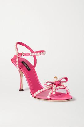 Dolce & Gabbana Faux Pearl-embellished Mesh-trimmed Satin Sandals - Pink